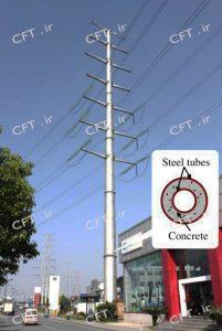 مزایای کاربرد مقاطع CFT در دکلهای شبکه انتقال نیرو نیز شایان توجه است. مقاومت این نوع دکل در مقایسه با دکلهای مرسوم خرپایی بهمراتب بالاتر بوده و سطح زمین اشغالشده توسط دکلهای CFT نسبت به انواع رایج کمتر است. ازاینرو در سالهای اخیر استفاده از مقاطع فولادی پرشده با بتن در زیرساختهای شبکه انتقال رشد بسیاری داشته است.